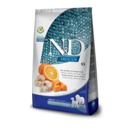 """אוכל לכלבים N&D נטורל אנד דלישס אושן דג קוד, דלעת ותפוז לכלב בוגר גודל בינוני וגדול 12 ק""""ג."""